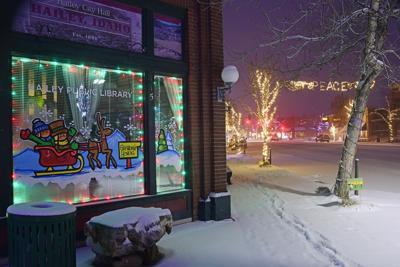 Hailey Library Christmas Lights Dusk