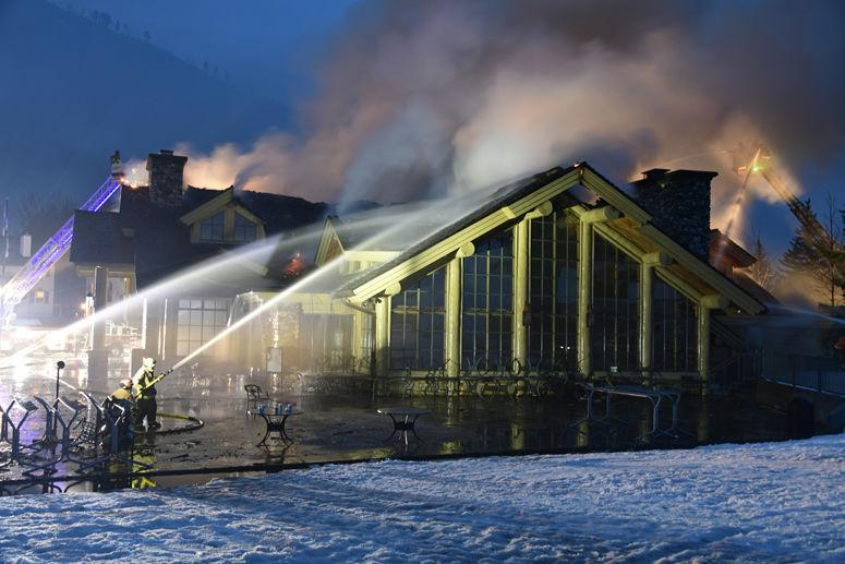 Crews battle lodge fire