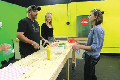 Yanna Lantz, right, rehearses with Matt Gorby and Vanessa Sterling