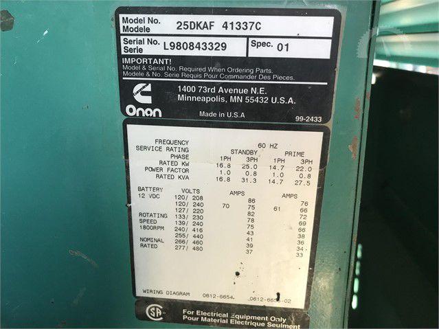 Onan 25KW Diesel Generator image 2