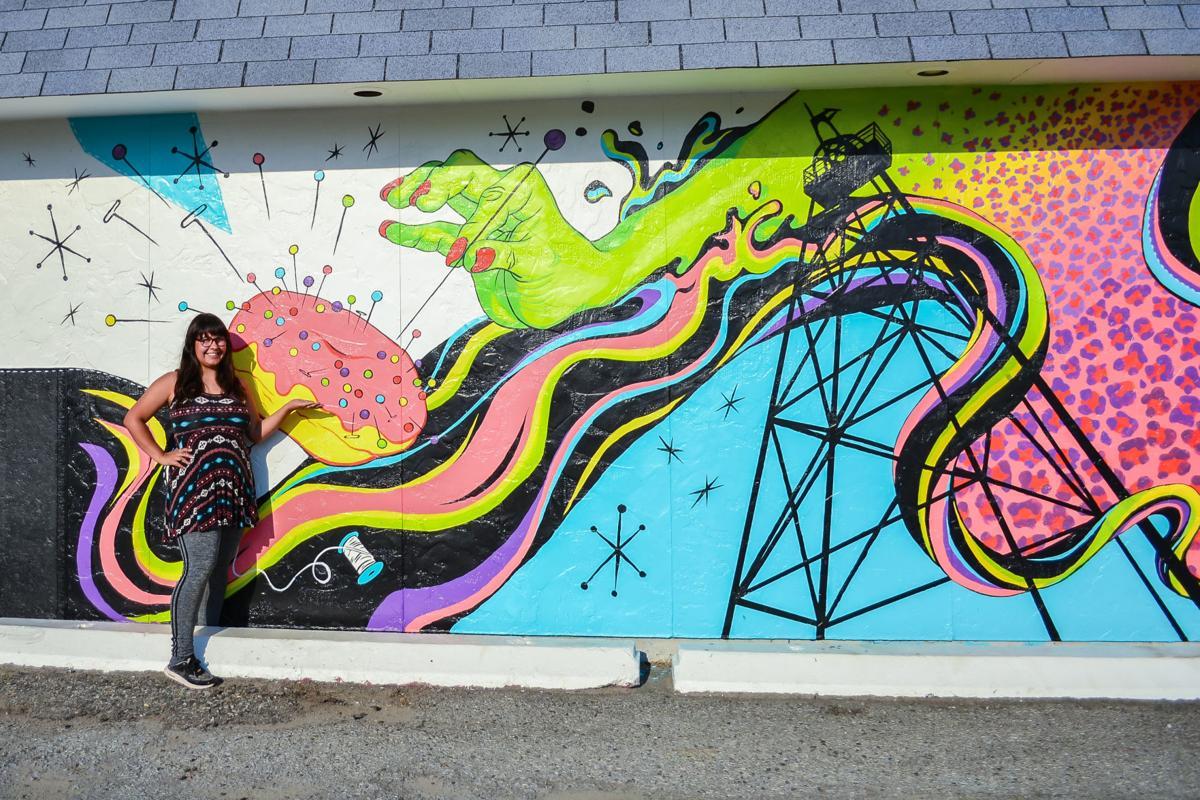 Anna Lensch with Mural