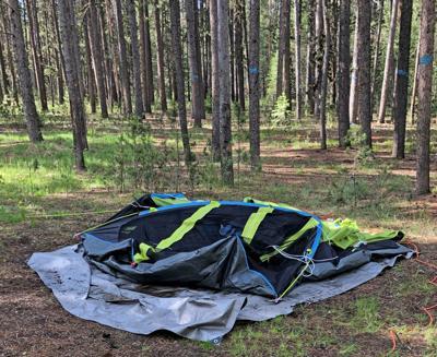 Flattened tent