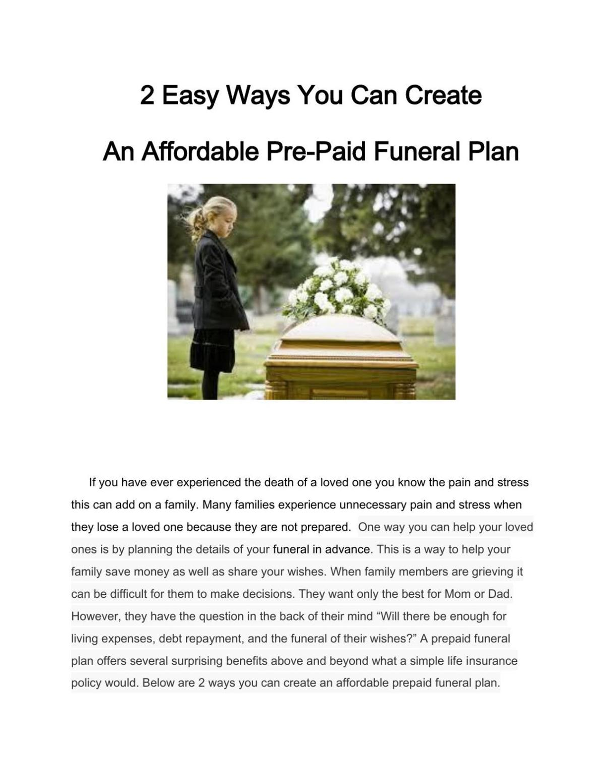 2 Easy Ways You Can Create An Affordable Pre-Paid Funeral Plan