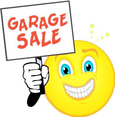 Garage sale with smiley face