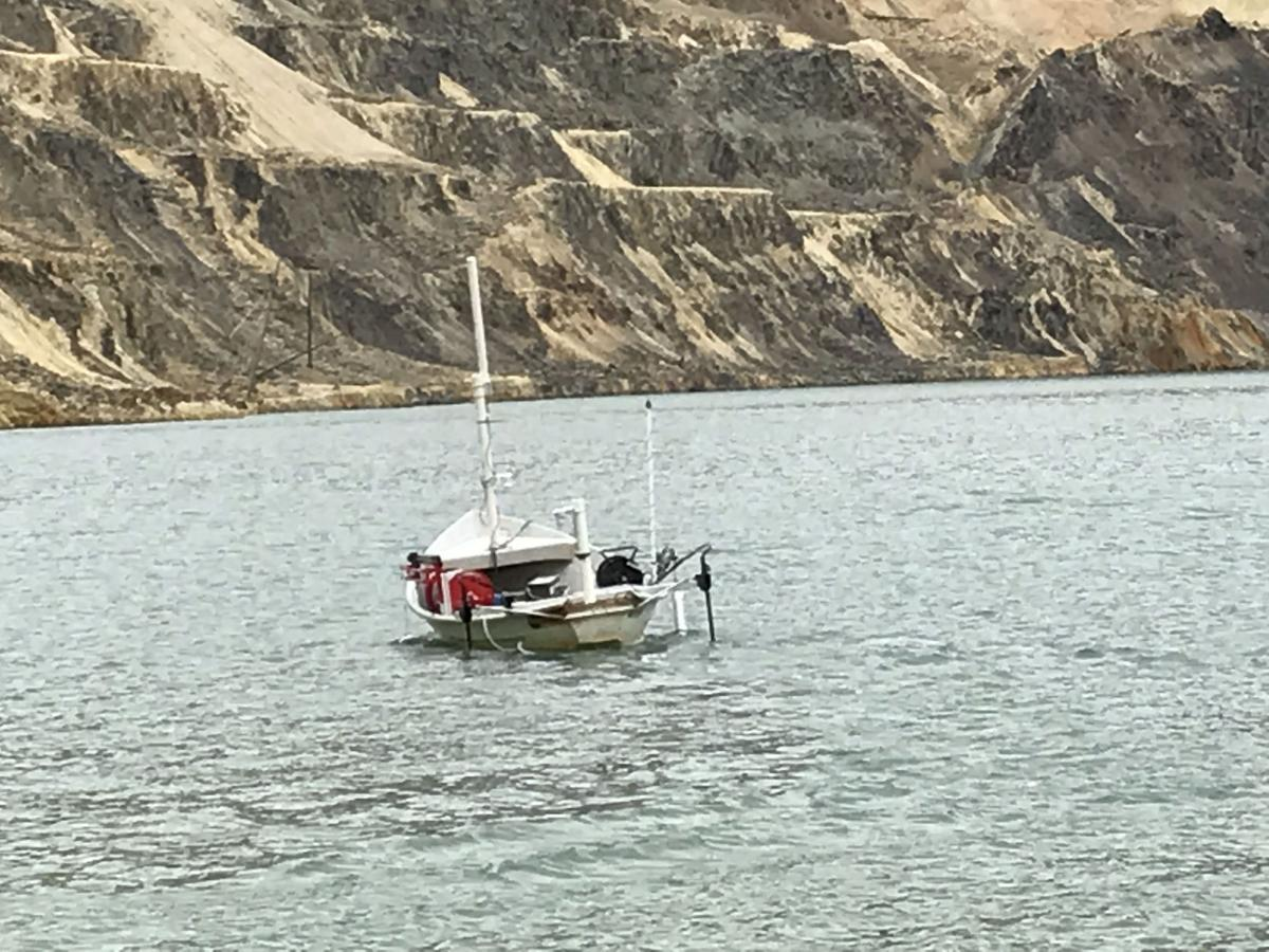 Pit boat pictured in middle of pit