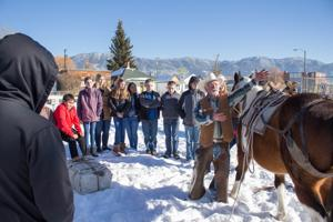 Pack horses visit Butte Central social studies class, help teach students about Montana history