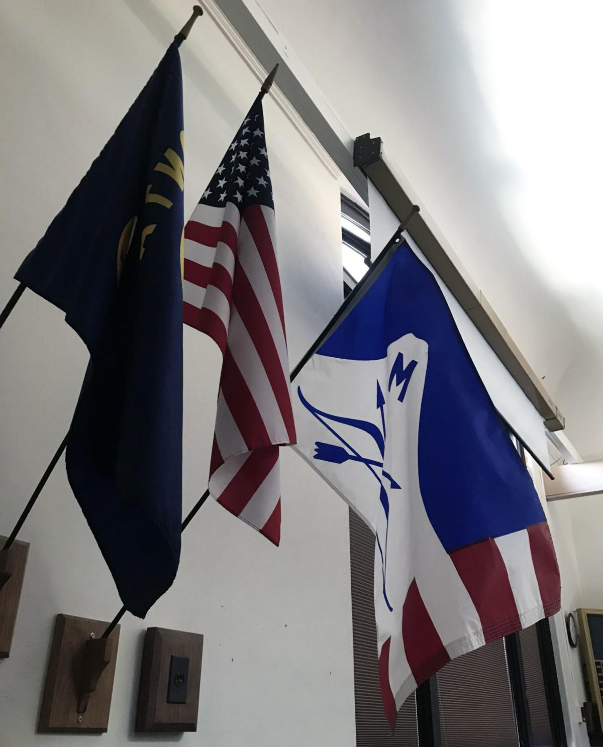 flags in council chambers