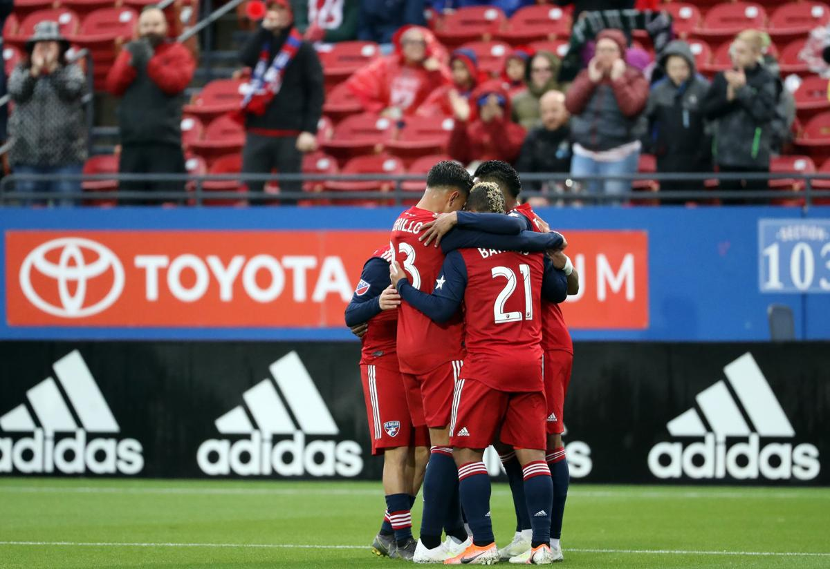 FC Dallas celebrates a goal against the Portland Timbers at Toyota Stadium in Frisco, Texas, on April 13, 2019. At least six FC Dallas players have tested positive for the novel coronavirus, casting doubt on the MLS Is Back tournament's scheduled July 8 start.