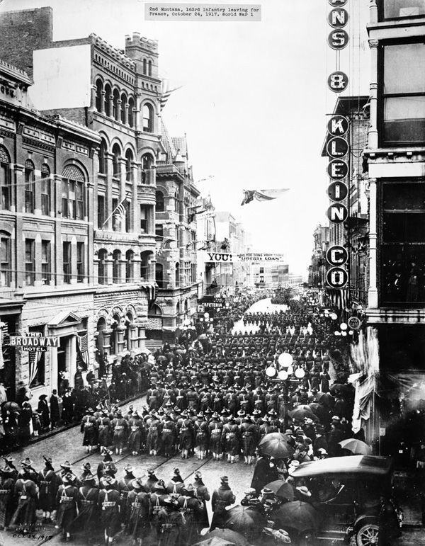 The 163rd Infantry parades through Main Street, Helena before leaving for France, on October 24, 1917 during World War I.