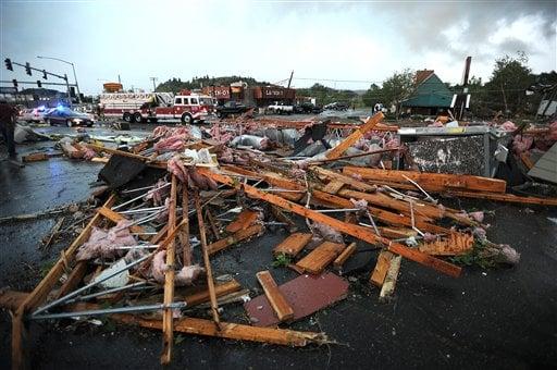 Debris scattered following tornado