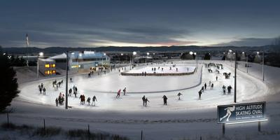 Artist's rendering of skating oval with hockey rink