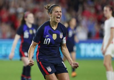 The U.S. women's national team's Carli Lloyd celebrates after scoring a goal during a 2020 SheBelieves Cup match at Exploria Stadium in Orlando.