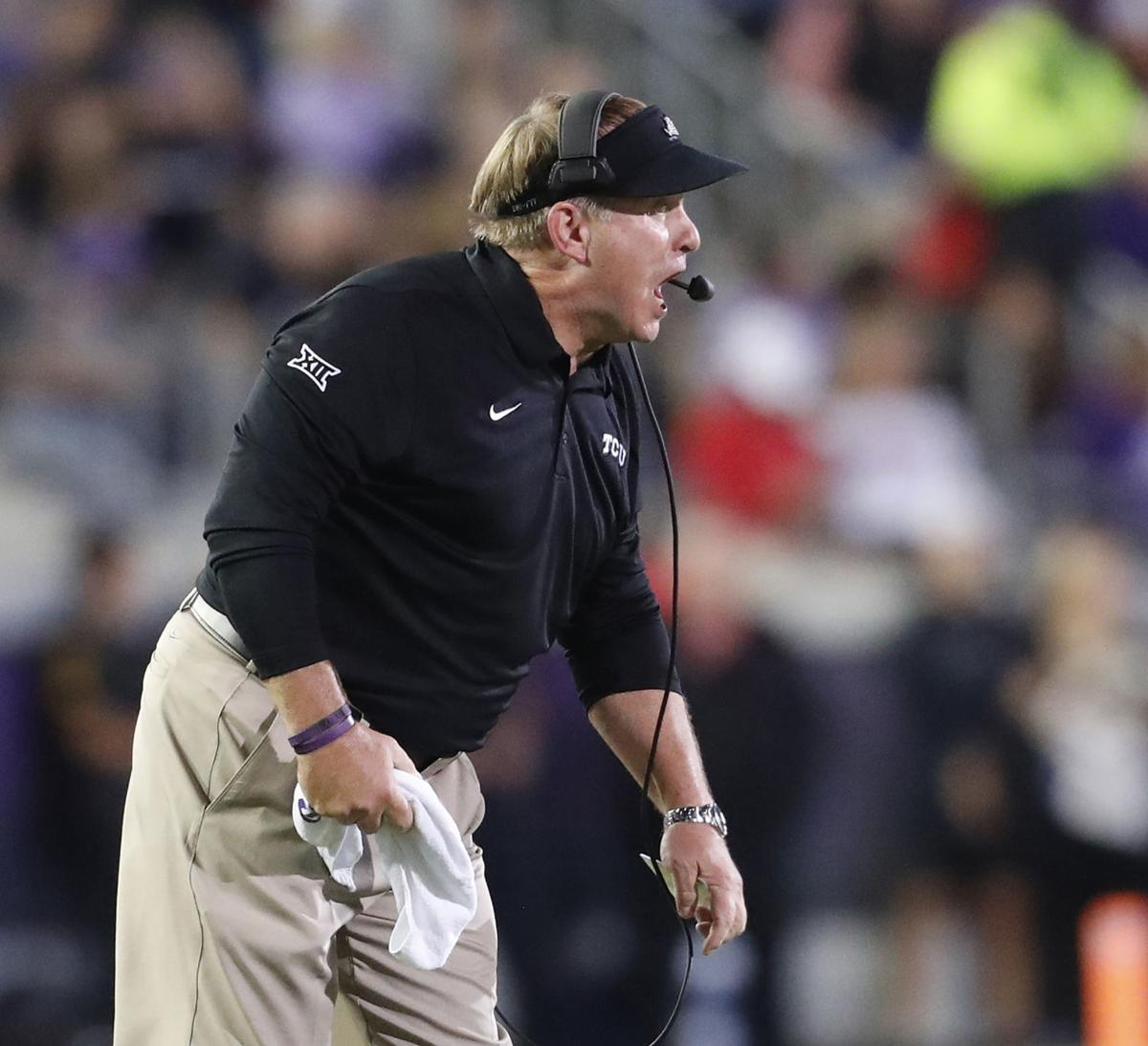 On October 11, 2018, TCU head coach Gary Patterson shouts in directions in the first half against Texas Tech at Amon Carter Stadium in Fort Worth, Texas. The Horned Frogs struggled on Saturday, Oct. 20, 2018, in a 52-27 home loss against Oklahoma.
