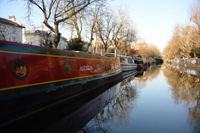 London's Regent's Canal. Both London and Paris offer canal cruises, two of the many things the cities have in common.