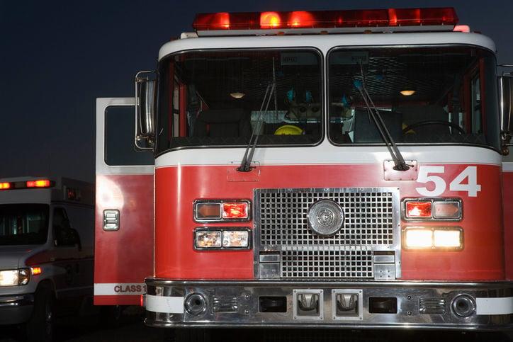 Fire engine and ambulance stockimage