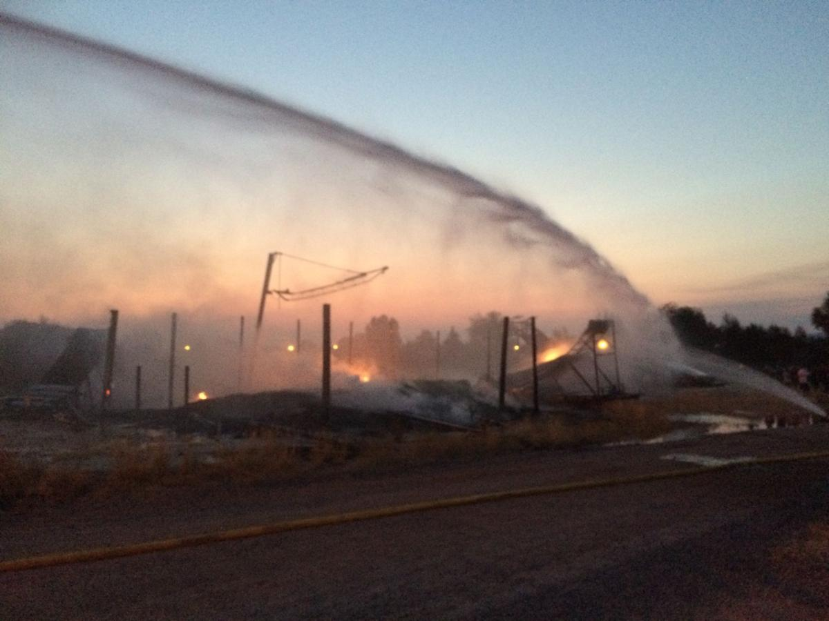 Fire burns motorcycle stunt training area
