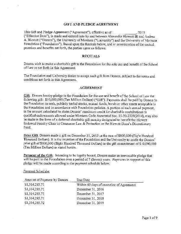 Um School Of Law Naming Agreement Mtstandard