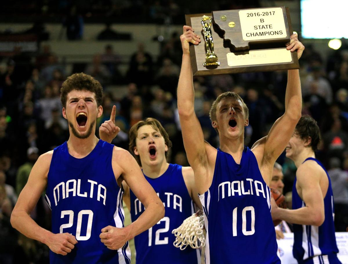 Malta's Jace Bishop and Nate Costin celebrate Class B championship