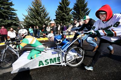Tech's annual bed races on Park Street in Butte