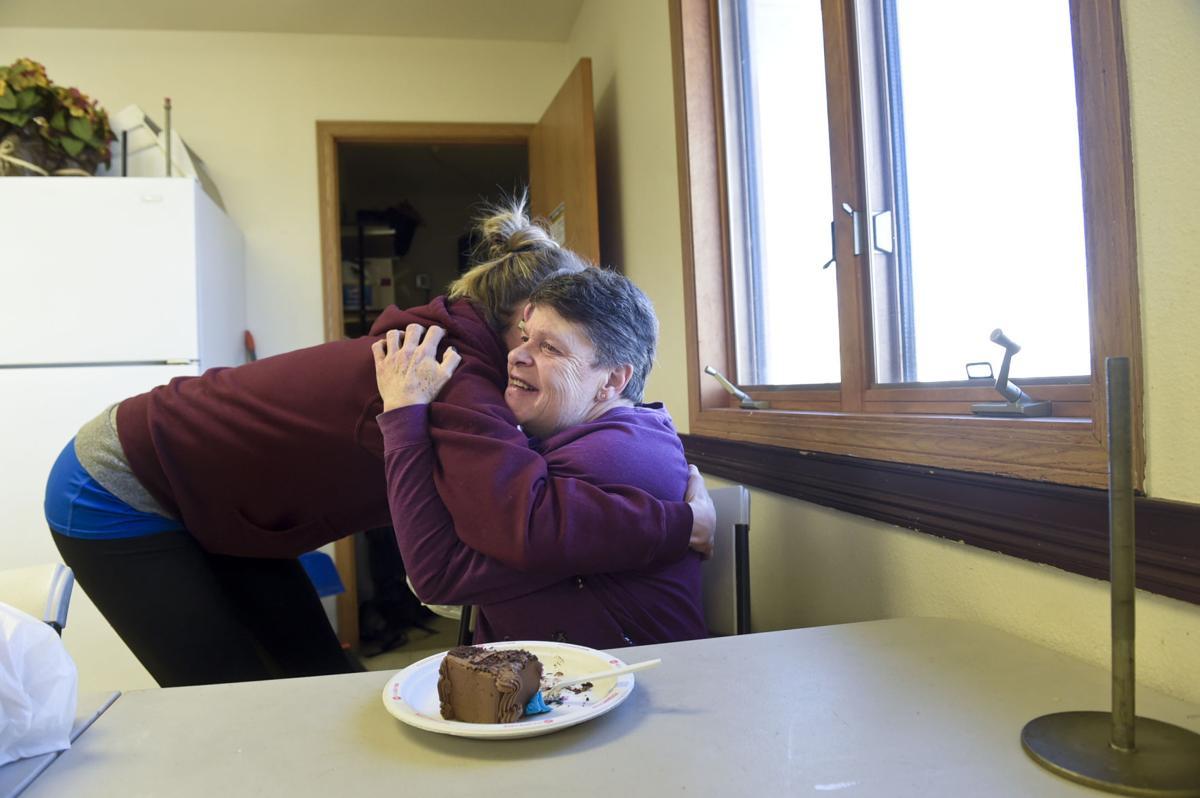 Chilton shares a hug with Amy Benson Friday