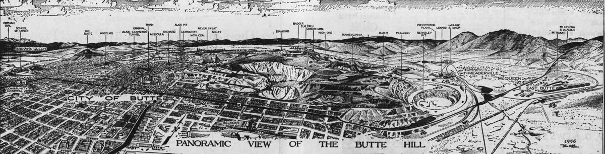 Panoramic view of Butte from 1957