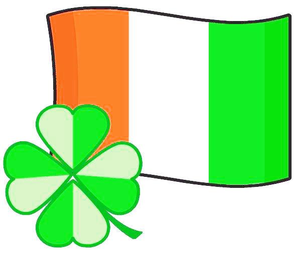 Irish flag with shamrock