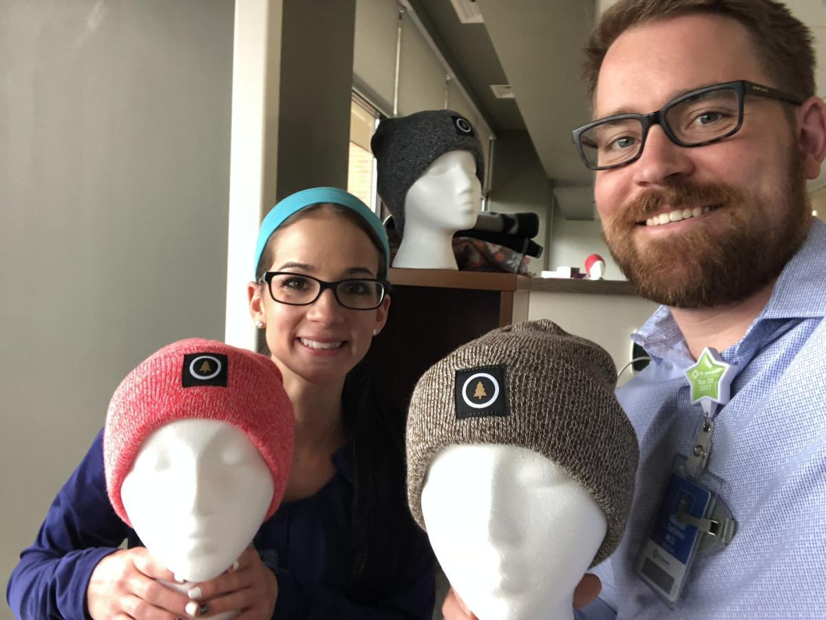 Selfie with beanies donated to St. James Healthcare Cancer Center