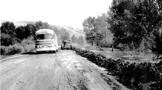 On road west of Garrison in 1952