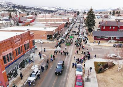 Aerial shot of Anaconda parade