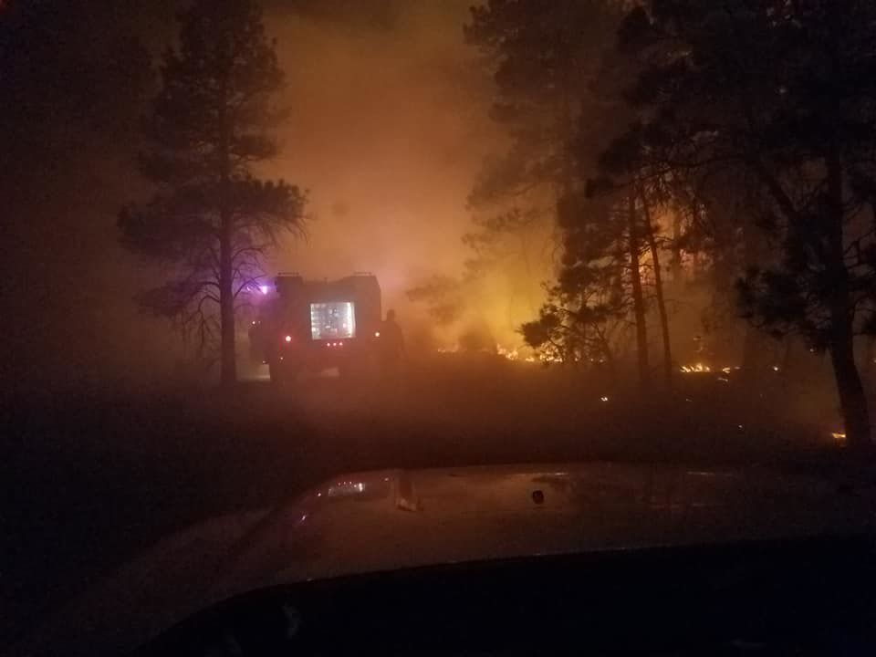 North Hills fire at night