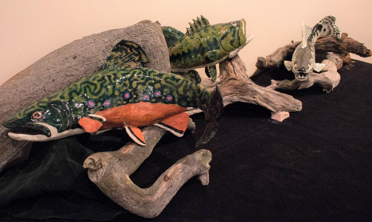 Trout sculptures created by Connor and Clayton Heggem
