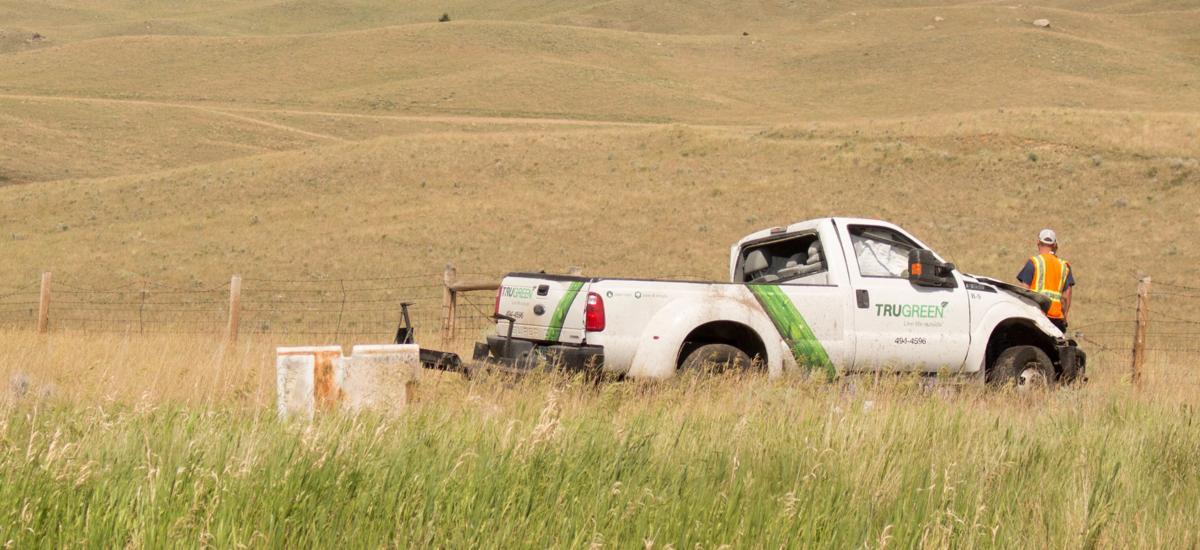 Tru Green truck crashes on Interstate 15