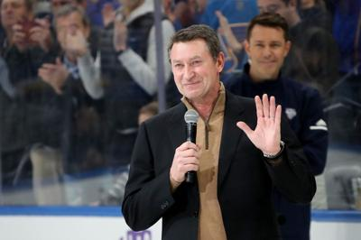 Wayne Gretzky addresses fans prior to the NHL All-Star Skills Competition at Enterprise Center on January 24, 2020 in St. Louis.