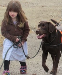Nora Howard, 4, leads Grizzly, a K9 Care Montana service dog who specializes in autistic children