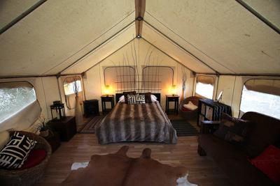 A 'glamour tent, part of the 'glamping' experience at Ventura Ranch, a KOA campground is featured in Santa Paula, California, February 9, 2012. Luxury amenities are part of the KOA's brand.