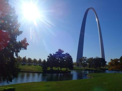 The 630-foot tall stainless steel Gateway Arch is the symbolic end point for Missouri River paddlers.