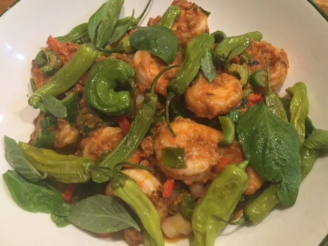 Shrimp with Shishito Peppers and Peanut Sauce