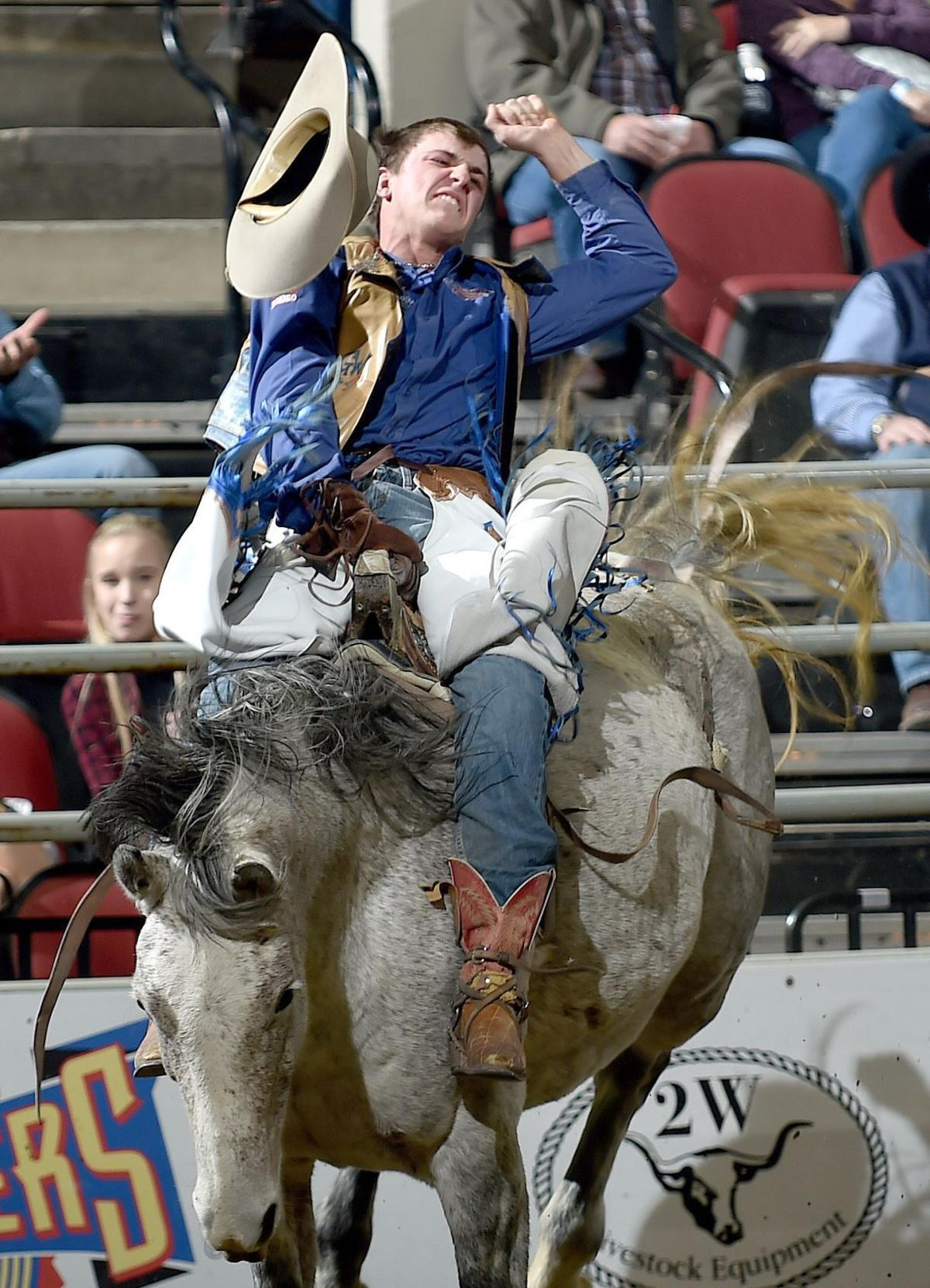 Shawn Perkins competes in the bareback event