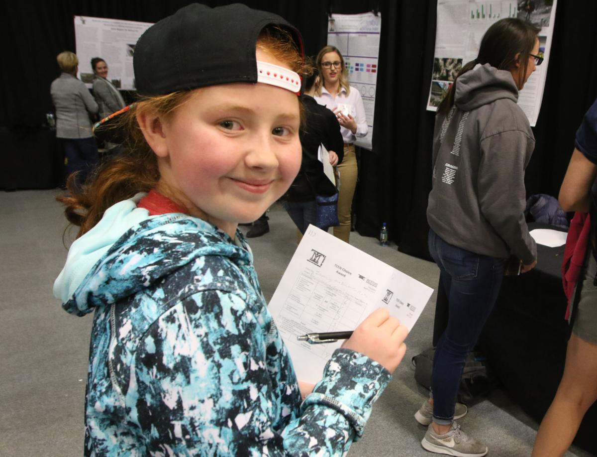 Morgann McGaugh, West Elementary 6th-grader, judges Teen Choice Award at Techxpo