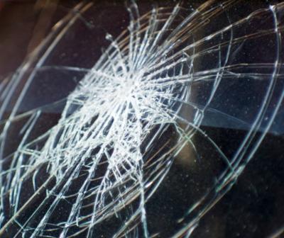 Broken glass in car accident stockimage crash