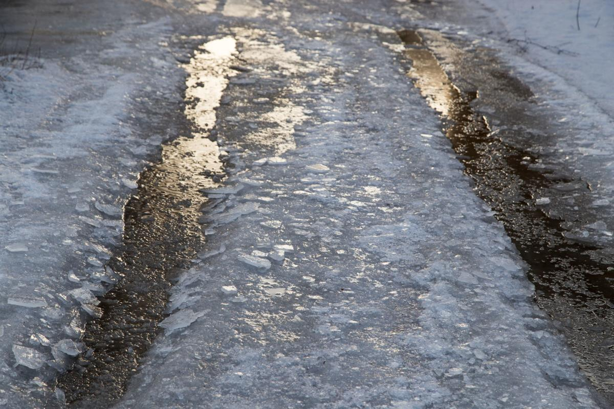 Icy Road Drifting Snow Black Ice