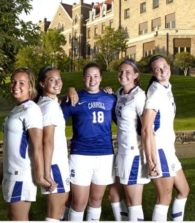 Erin Volz and 2012 Carroll College soccer teammates