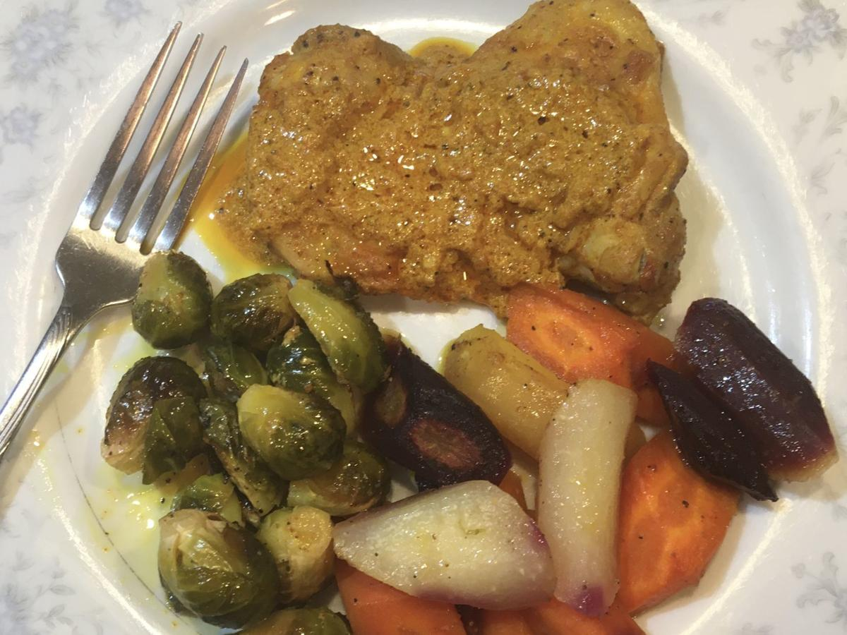 Sheet Pan Chicken Dinner with Roasted Brussels Sprouts and Rainbow Carrots