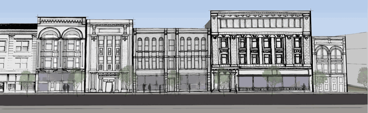 Illustration of facade proposal for 40 East Broadway