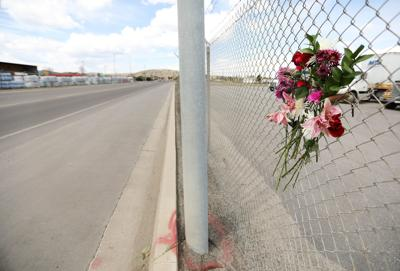 Flowers at fatal hit-and-run site
