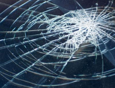 car accident broken glass windshield stockimage