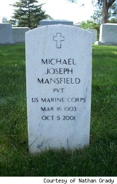 Private Mike Mansfield Just One U S Marine In Arlington