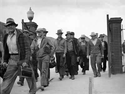 Smelter workers at quitting time in 1942