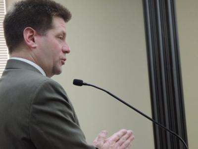 Rep. Matthew Monforton answers questions Monday