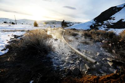 Mine-water discharge behind Montana Tech